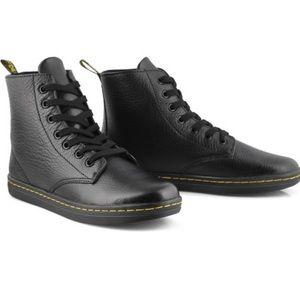 Dr. Martens Black Leather Shoreditch Ankle Bootie